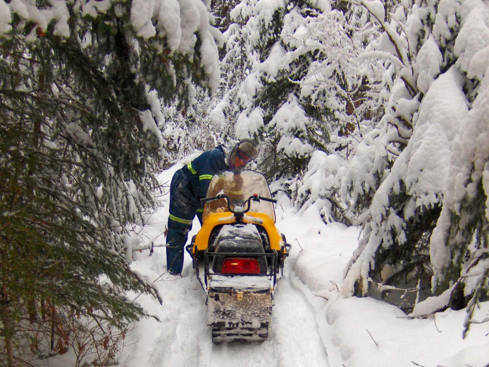 Technischer Halt für das Ski-doo.